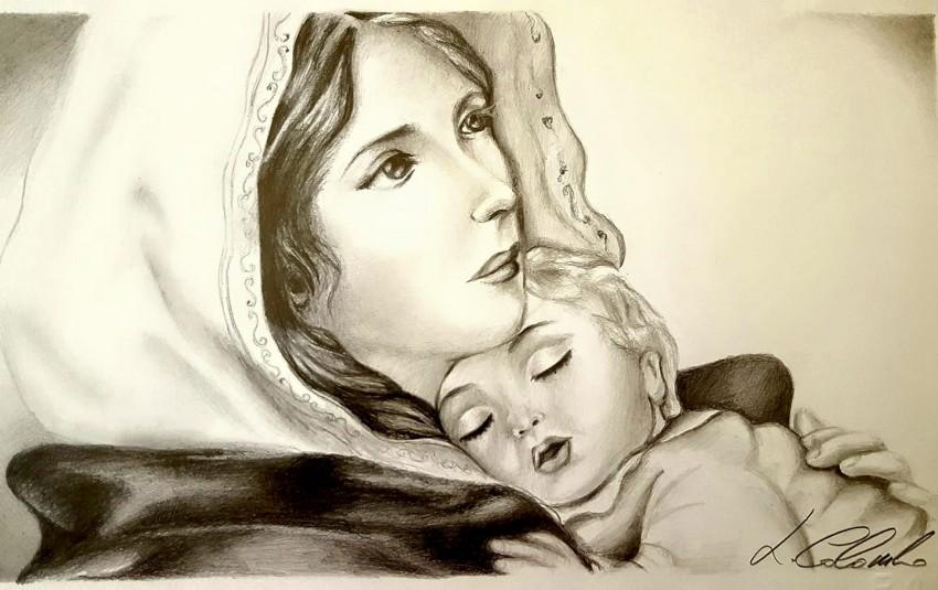 Lorena Colombo Disegno Della Madonna Col Bambino